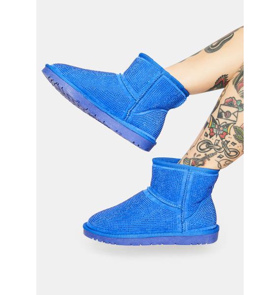AZALEA WANG Blue All Night Long Rhinestone Ankle Boots