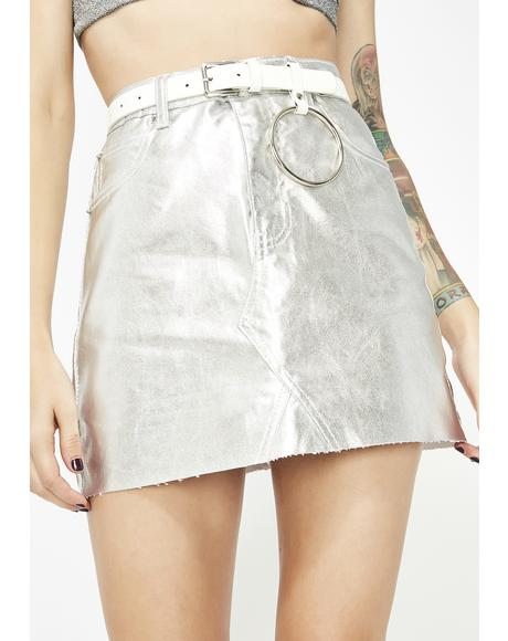 Chrome Money Spent Mini Skirt