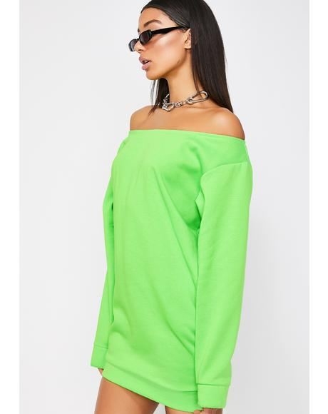 Neon Off The Shoulder Dress