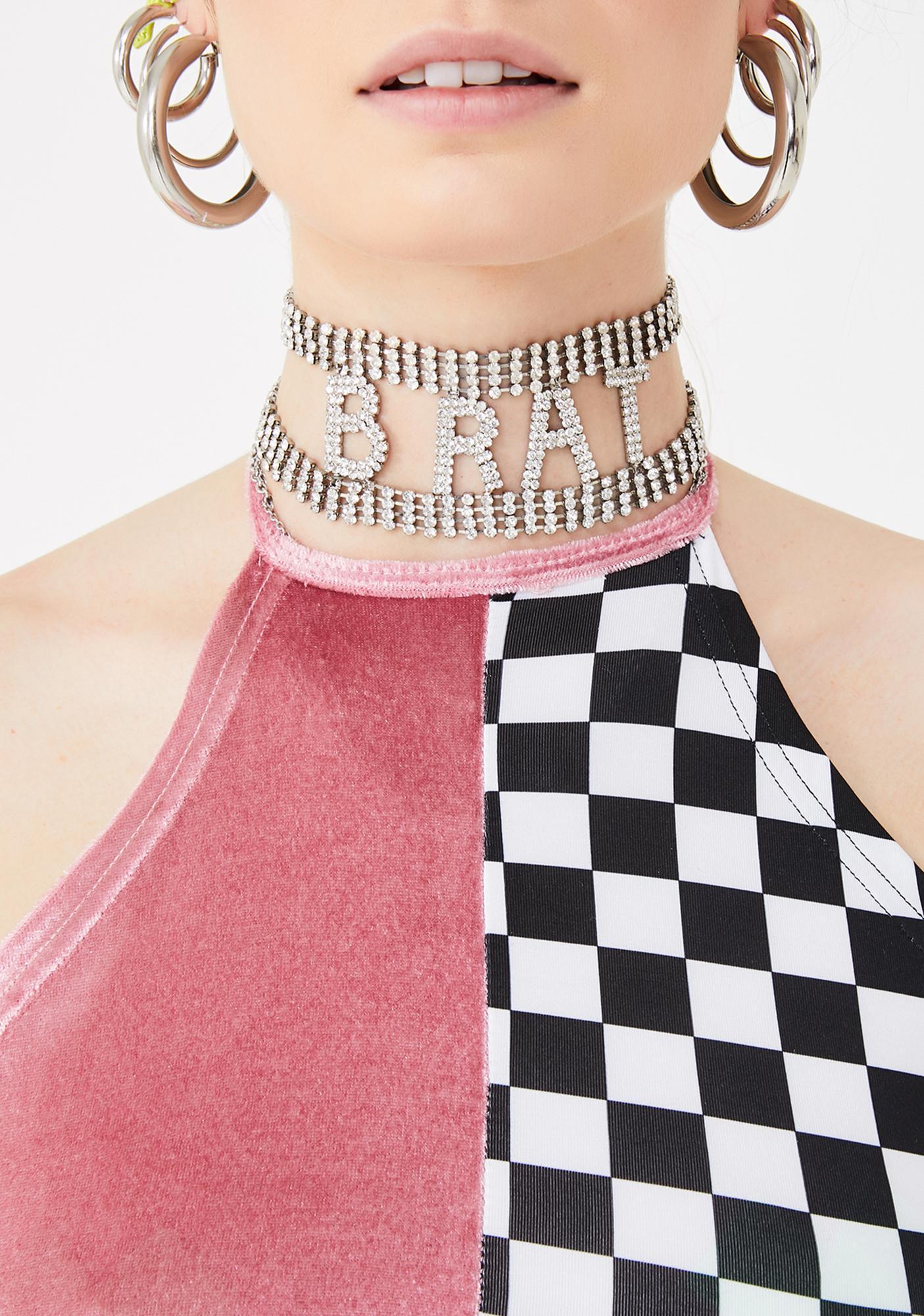 ZEMETA Checker Velvet Halter Top