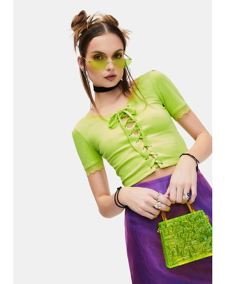 Lime Taken Advice Lace-Up Crop Top