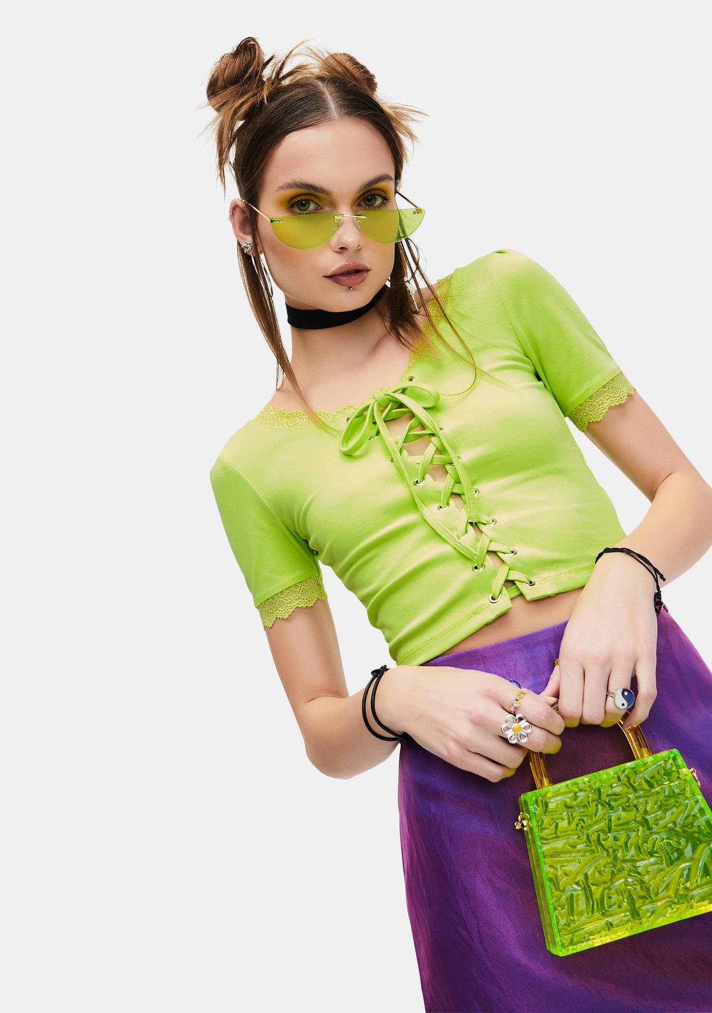 dELiA*s by Dolls Kill Lime Taken Advice Lace-Up Crop Top