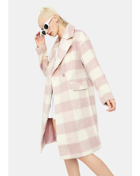 Mauve Check Long Coat