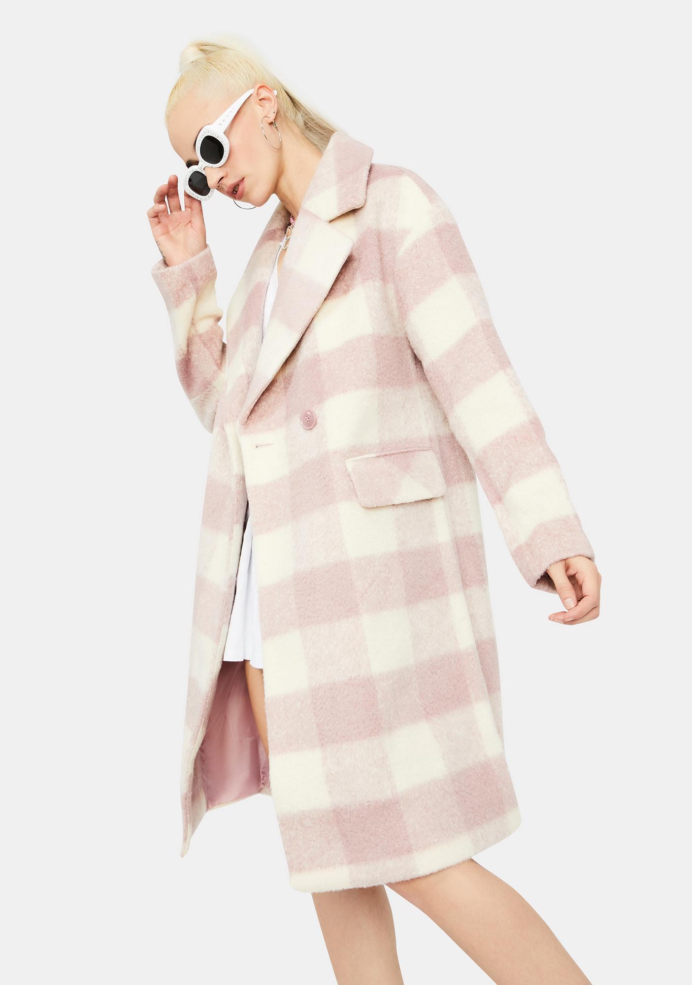 Glamorous Mauve Check Long Coat