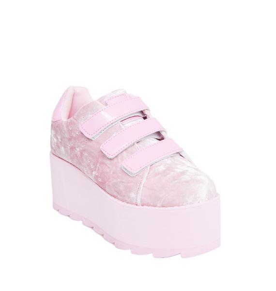 Y.R.U. Candy Lala Velvet Platform Sneakers