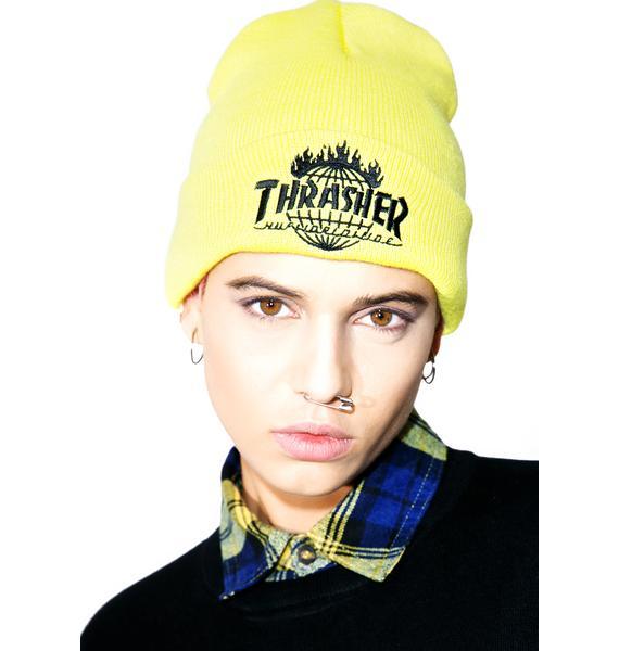 HUF X Thrasher Tour De Stoops Yellow Beanie