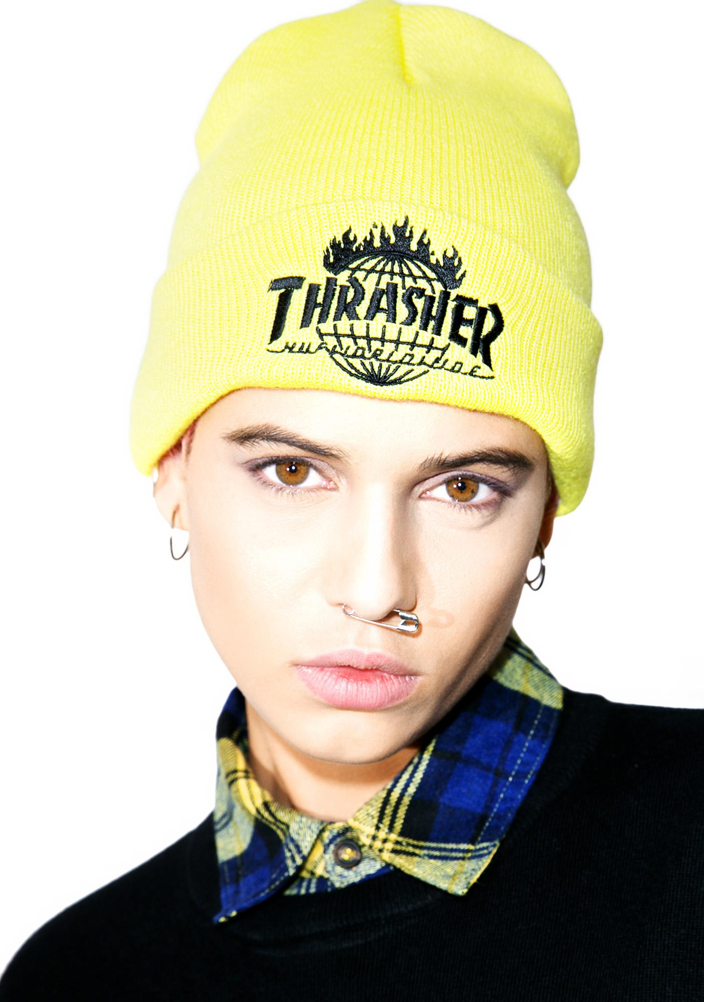 HUF X Thrasher Tour De Stoops Yellow Beanie  b2e78930d85