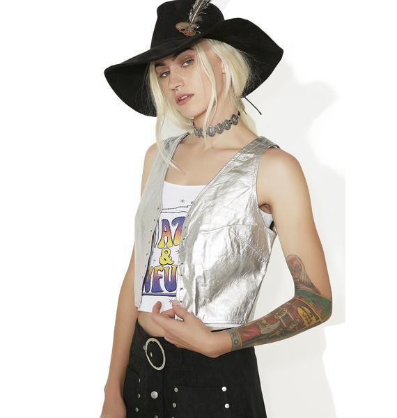 Vintage Silver Leather Vest