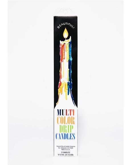 Multi Color Drip Candle