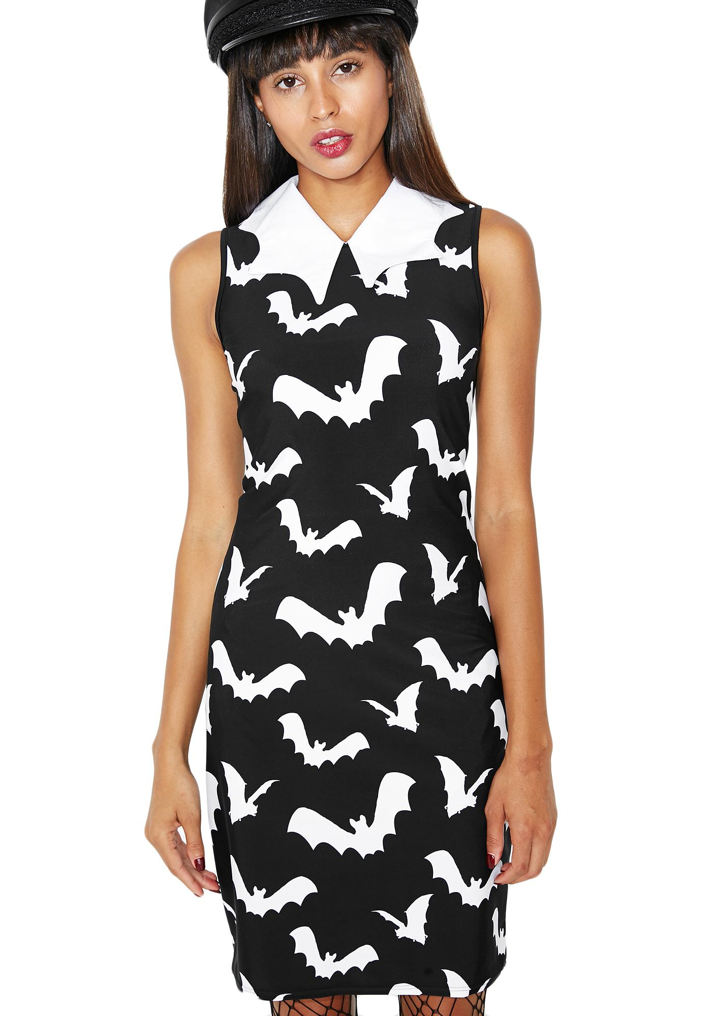 Gone Batty Collared Dress