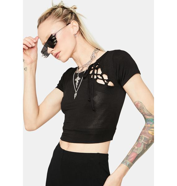 Fake Friends Lace Up Crop Tee
