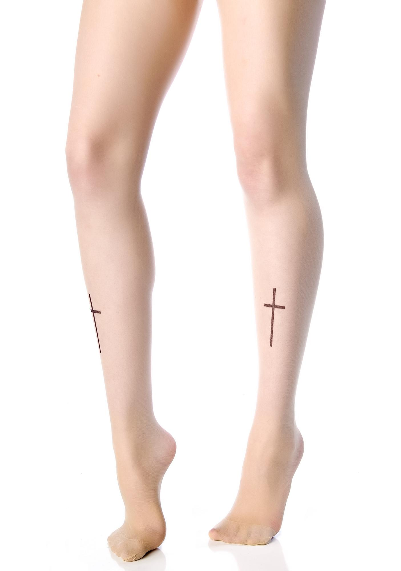 Cross Your T's Tattoo Tights
