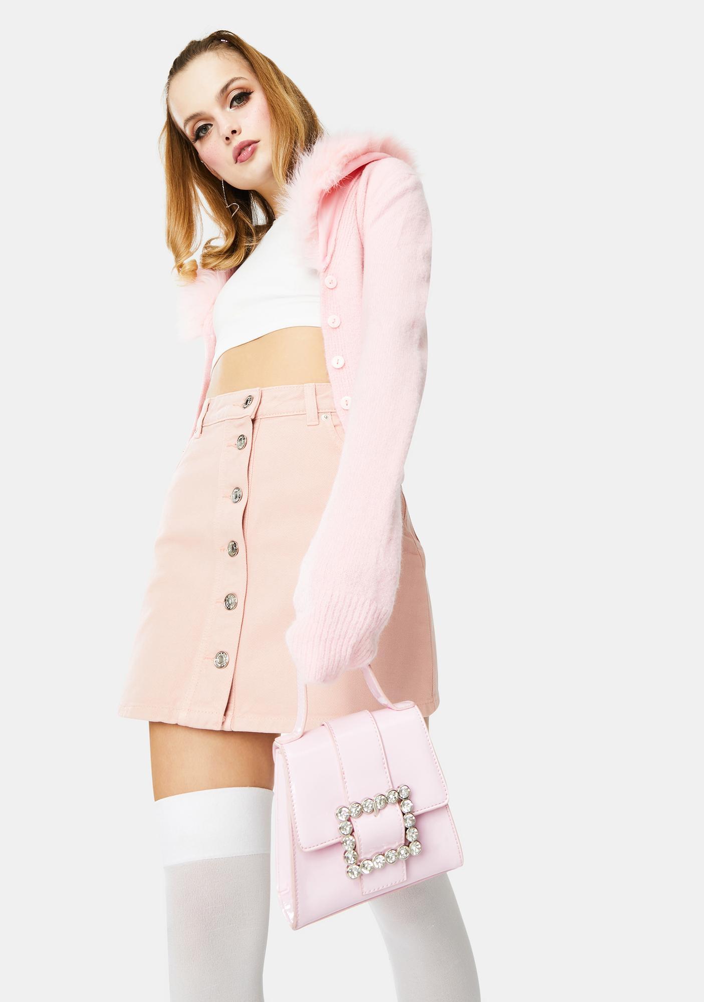 Minga Pale Pink Denim Button Skirt