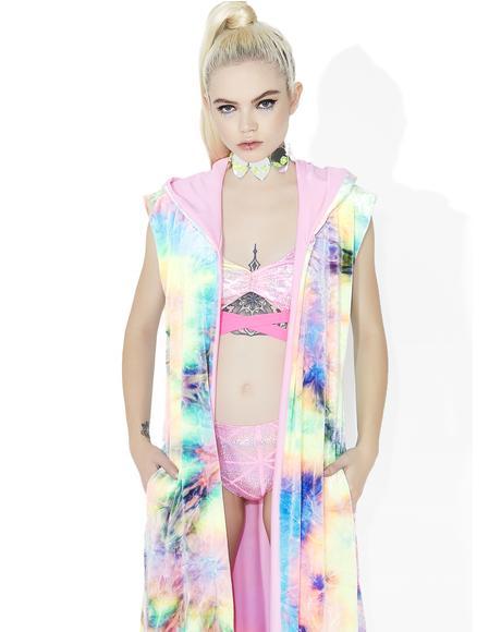 Pastel Tie-Dye Velvet Duster