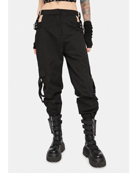 Time Cutout Buckle Pants