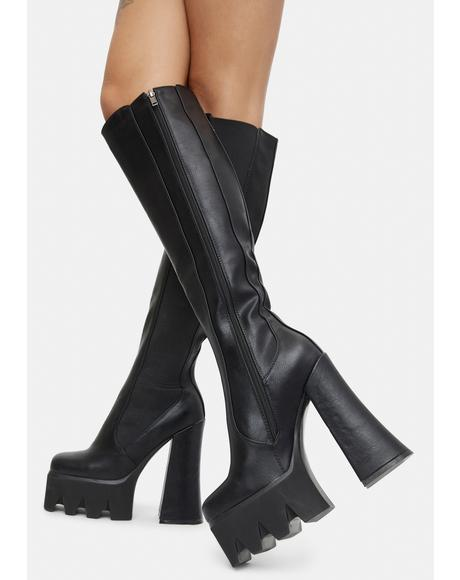 Disco Inferno Knee High Platform Boots