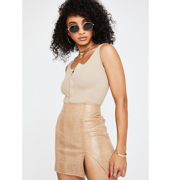 Motel Tan Snake Wren Mini Skirt