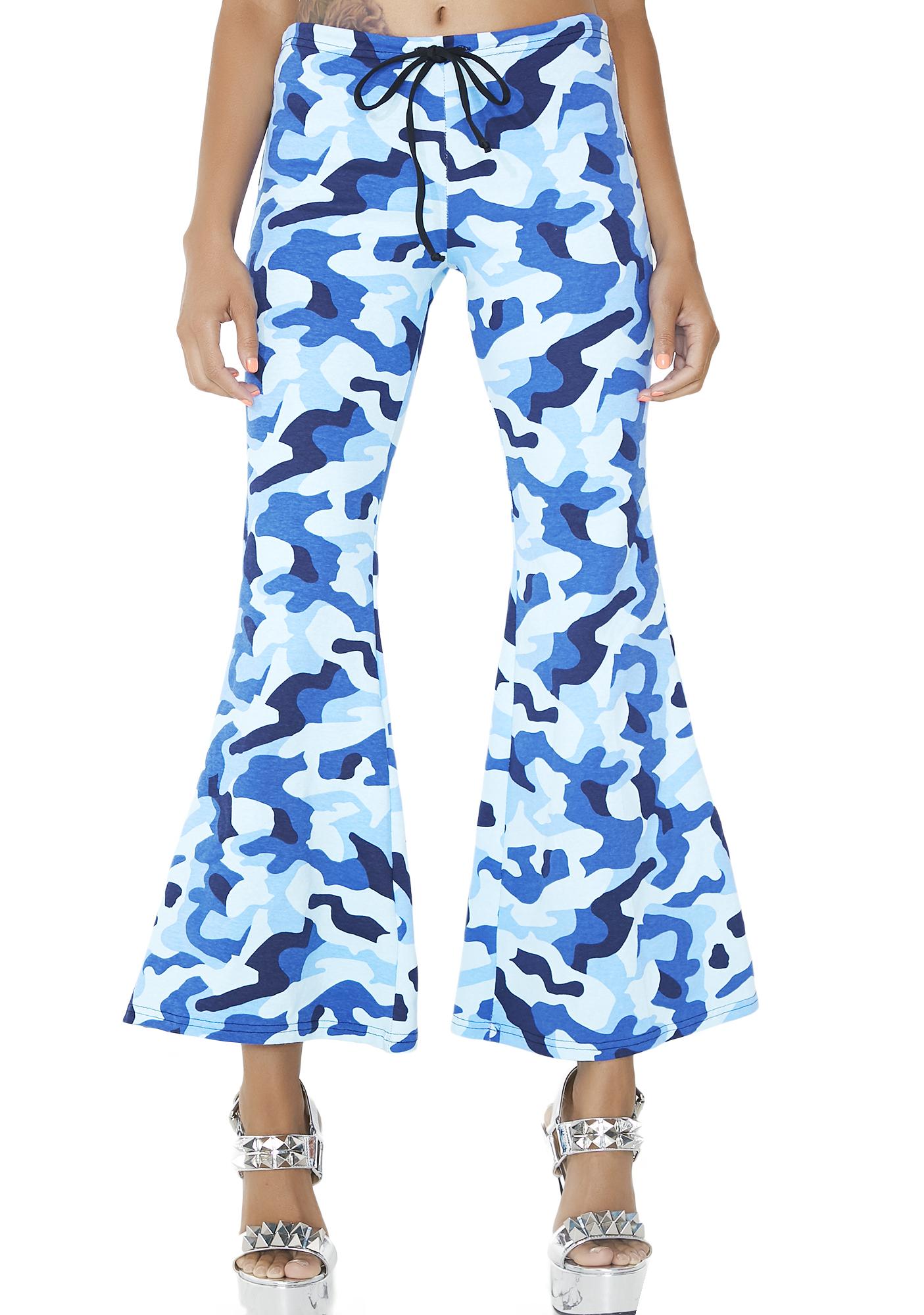 Camoflauge Blue Flare Pants