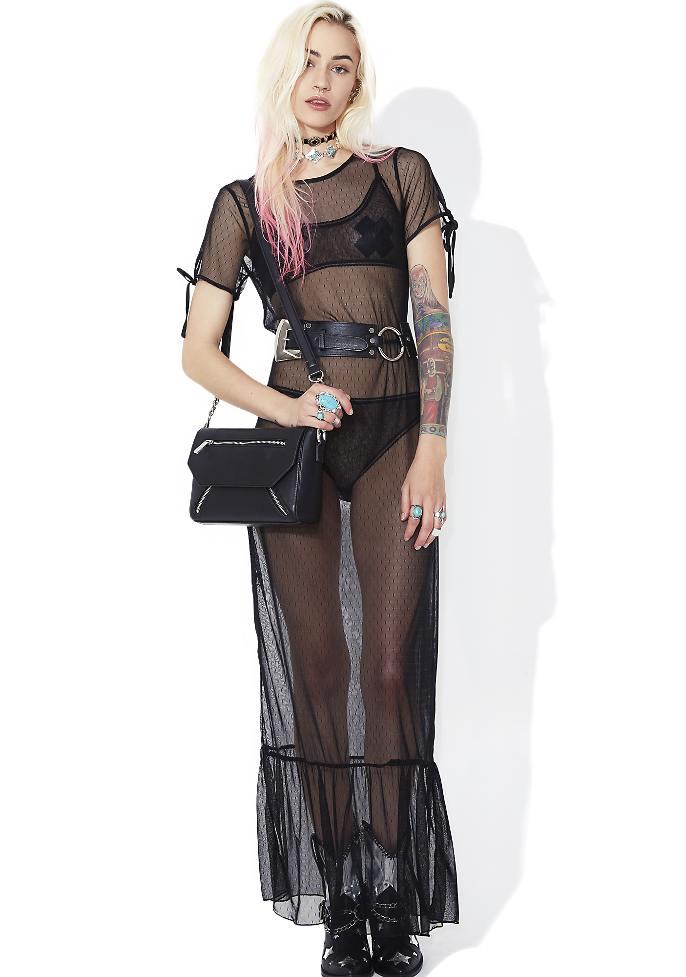 Goth Sheer Lace Maxi Ruffle Dress