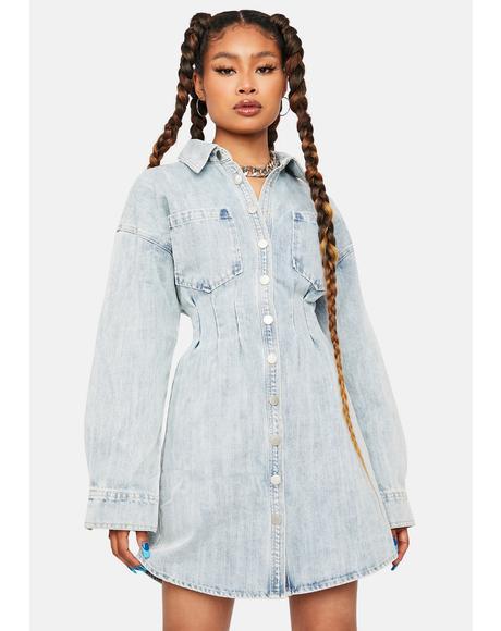 Gotta Believe Denim Shirt Dress