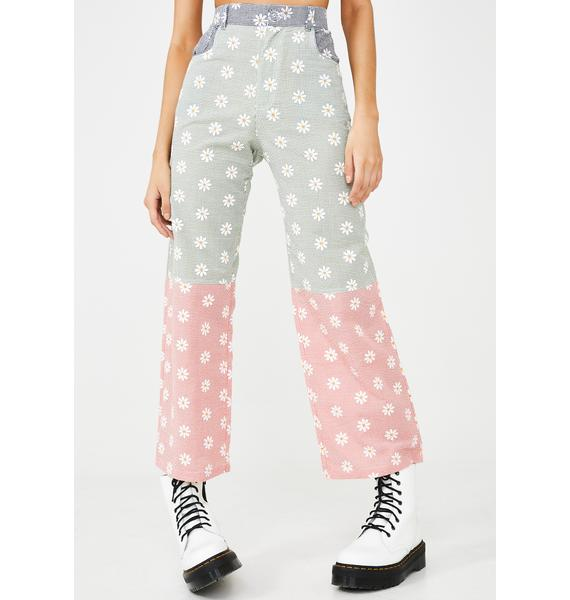 Somewhere Nowhere Reflective Daisy Print Trousers