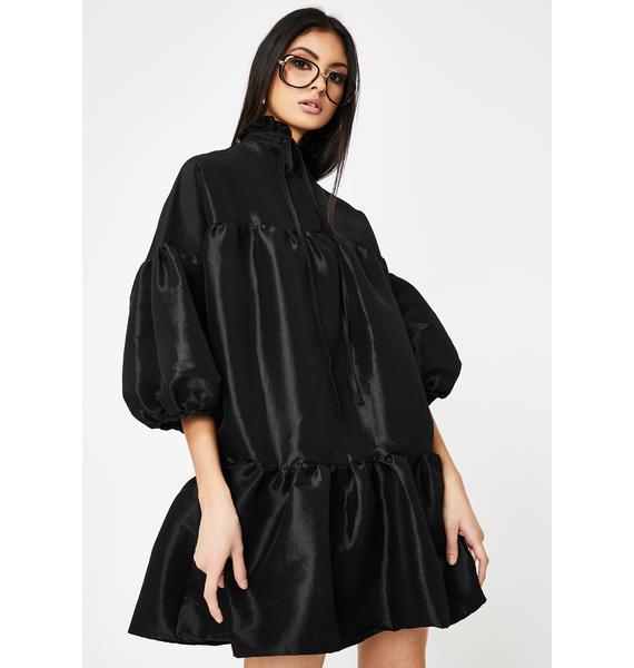 Alzang Black Puff Sleeve Dress