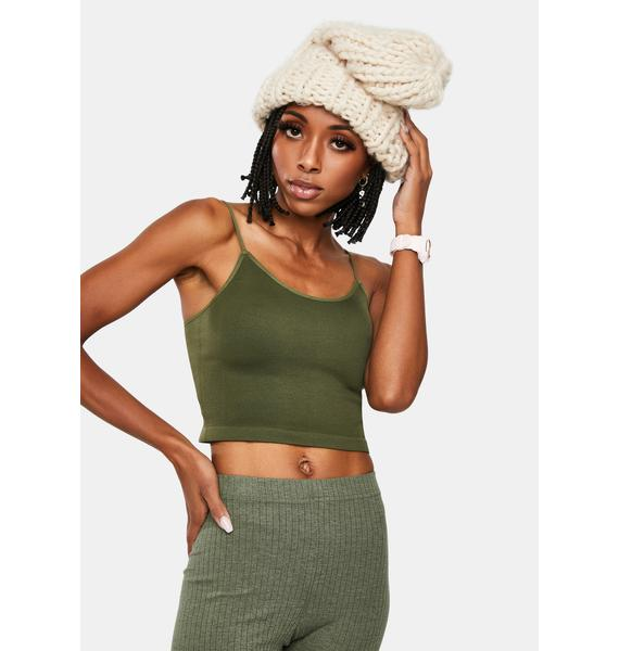 Olive Easy Peasy Crop Tank