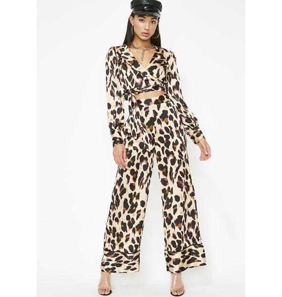 Catty Chic Satin Pants