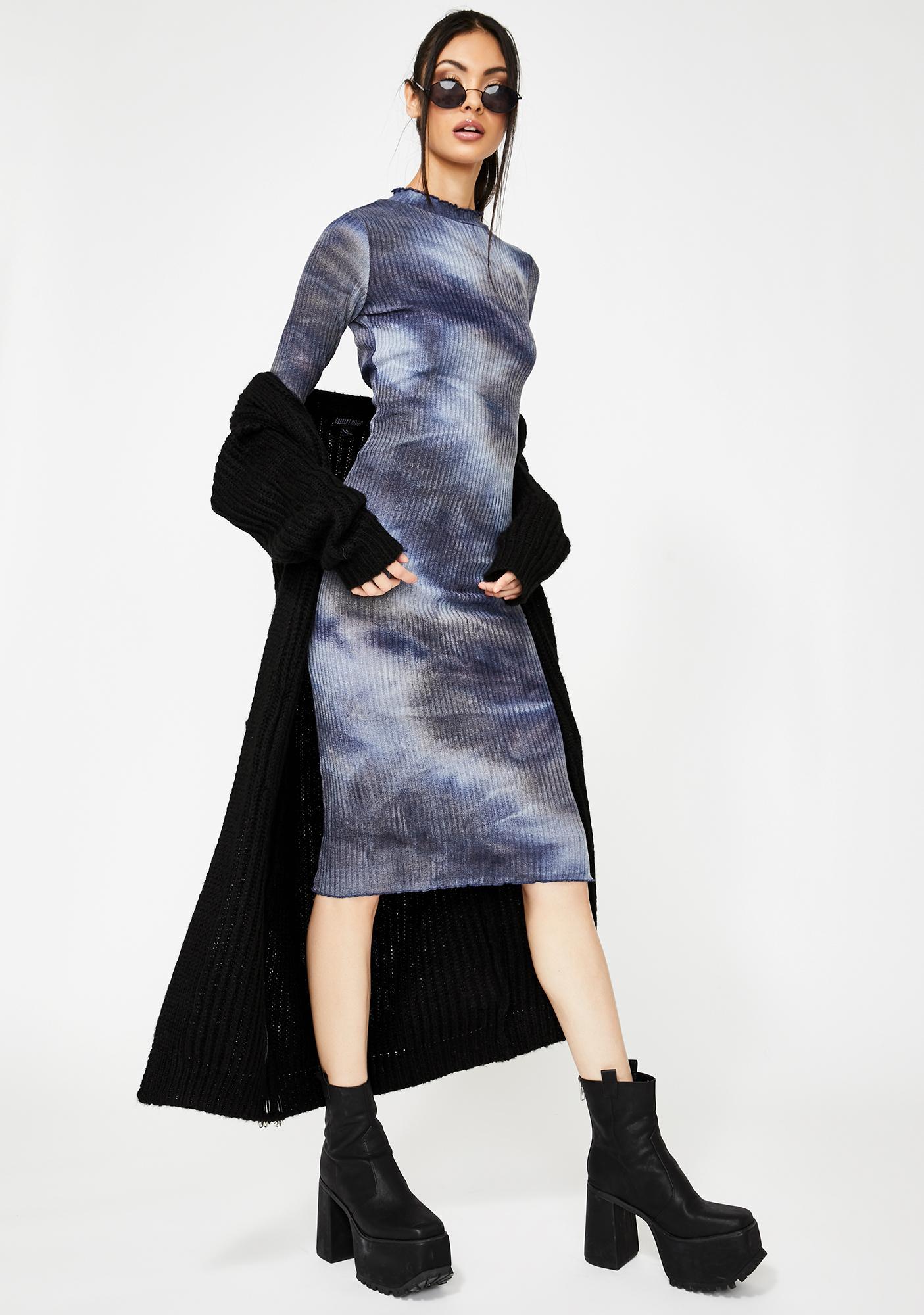 Honey Punch Navy Tie Dye Mock Neck Midi Dress