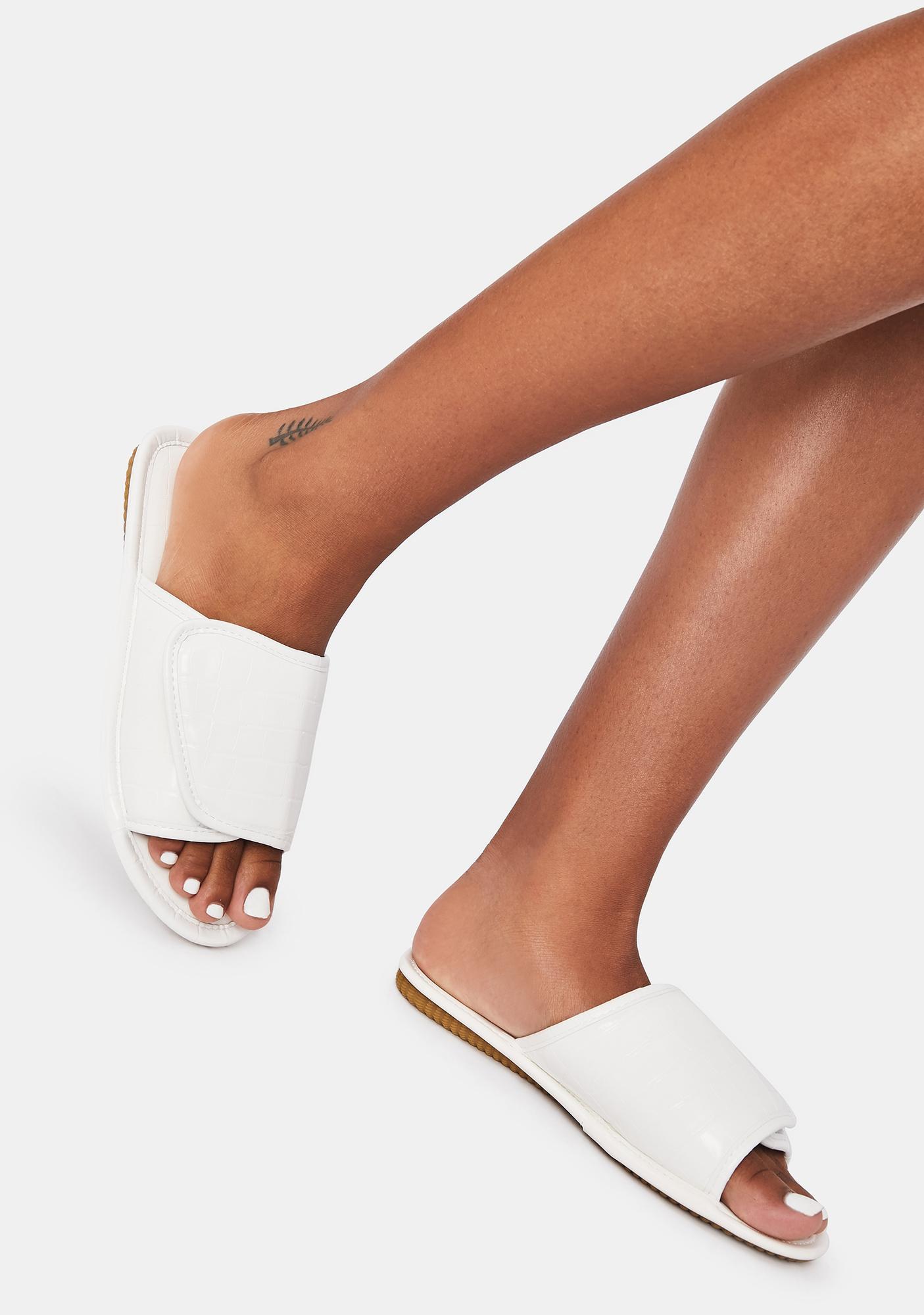 White Let'z Go Velcro Slides