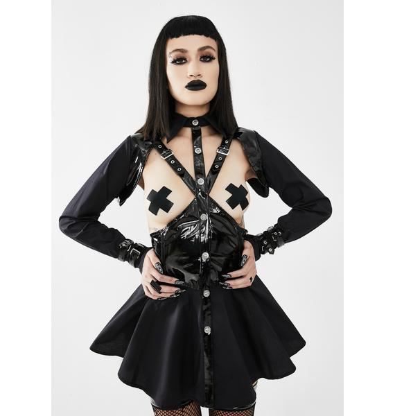 Devil Fashion Long Sleeve Patent Cut-Out Harness Top
