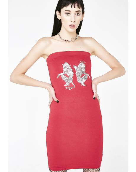 Angel Devil Sequin Dress in Red