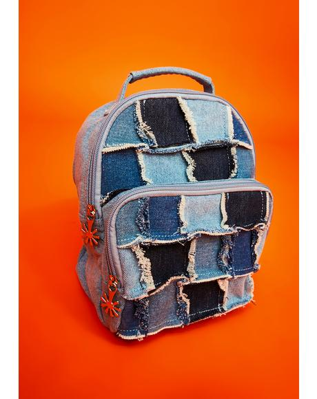 Raise The Vibration Patchwork Denim Backpack