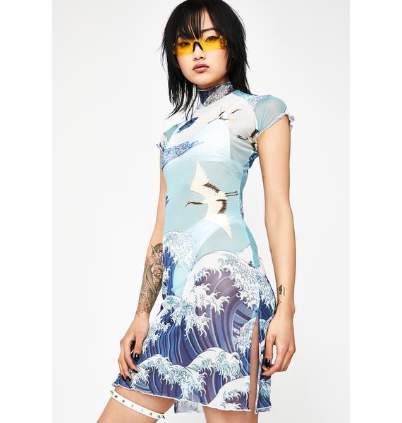 Current Mood Tidal Wave Mesh Dress