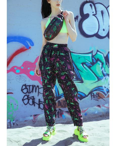 Black Gecko Neon Splatter Beach Pants