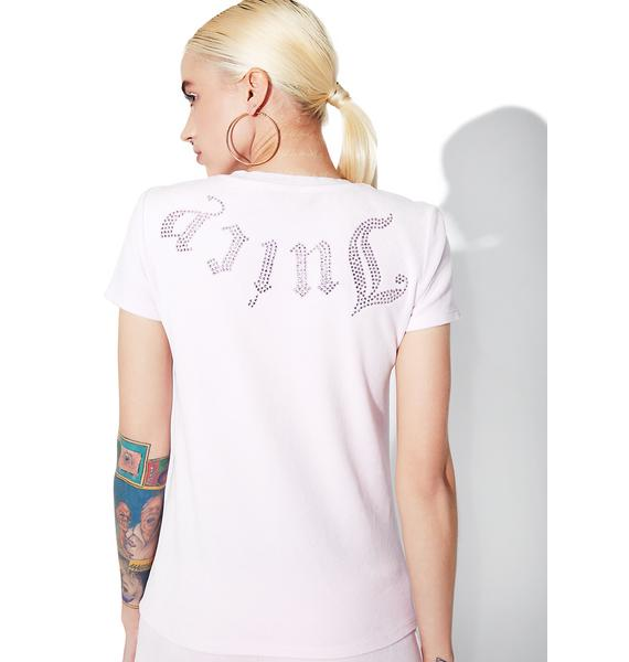 JUICY COUTURE Peek A Boo Velour Juicy Short Sleeve Tee