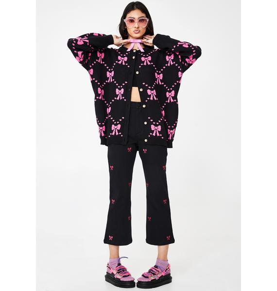 Lazy Oaf Big Bow Oversized Knit Cardigan
