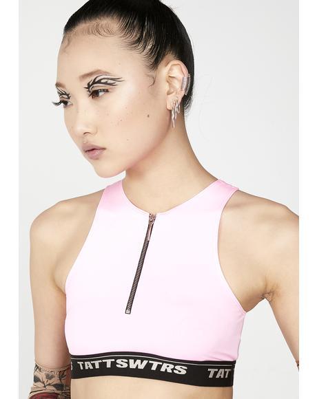 Pink Zip Bra Top
