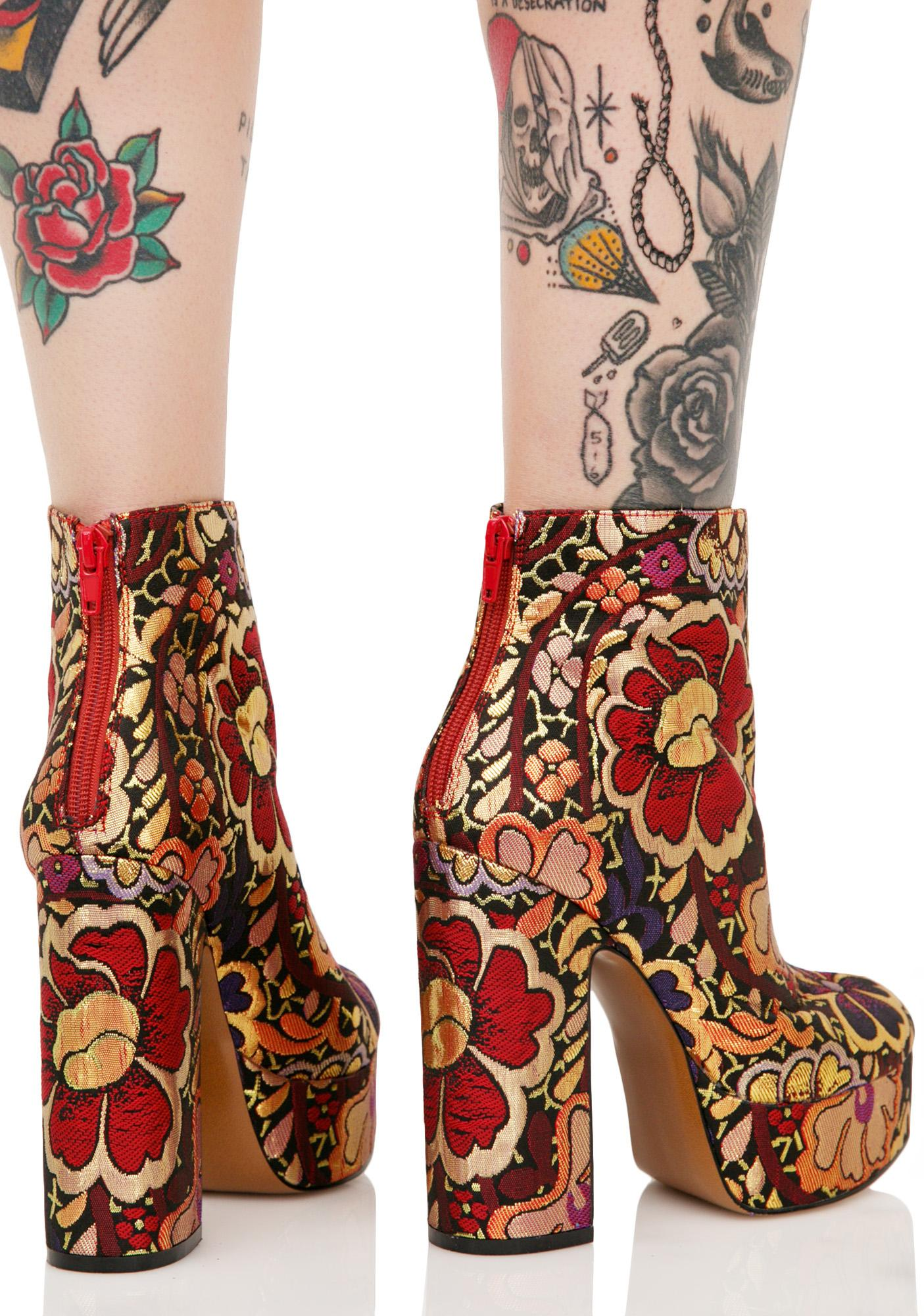 Shellys London Chanah Embroidered Floral Boots