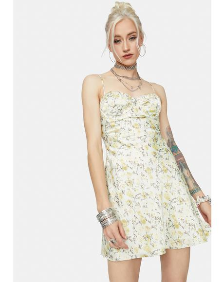 Freaky Fridays Satin Floral Mini Dress