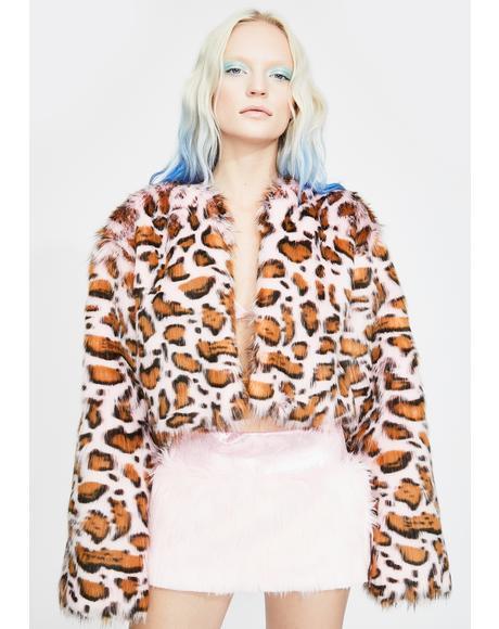 Pink Leopard Faux Fur Jacket