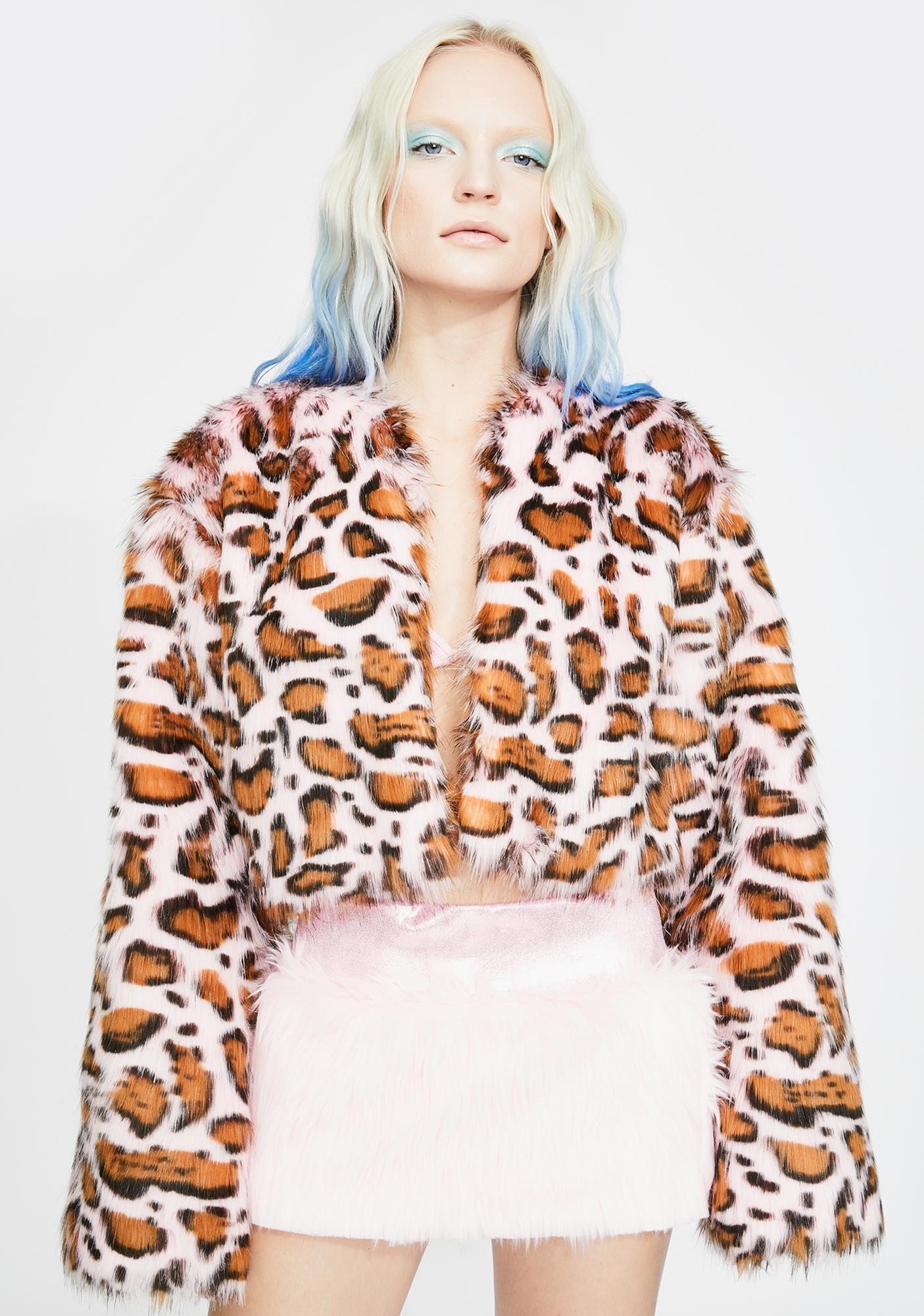 J Valentine Pink Leopard Faux Fur Jacket