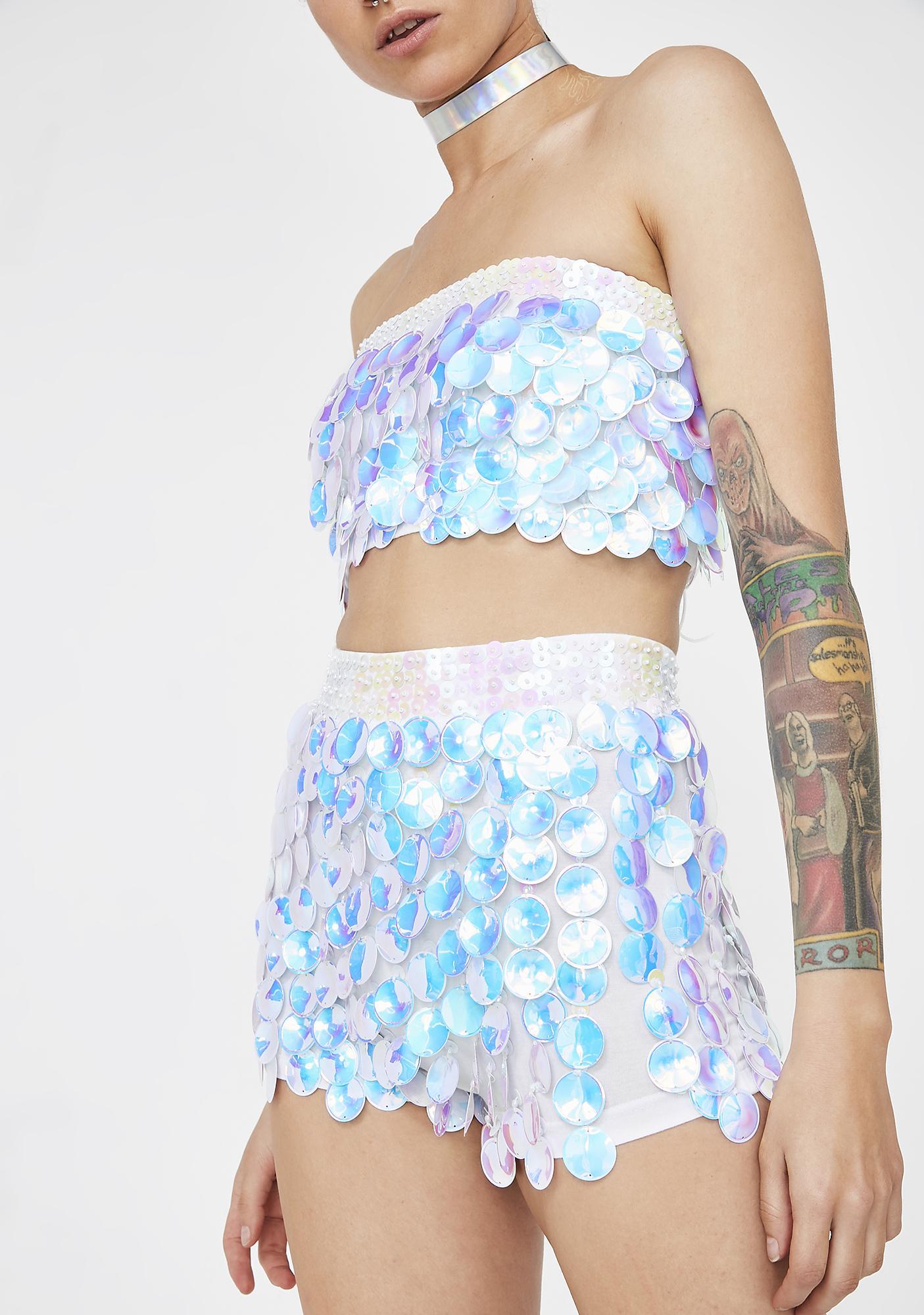 Magical Wonderland White Interstellar Shorts