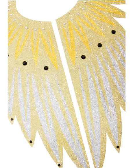 Winged Goddess Of Light Back Tattoo
