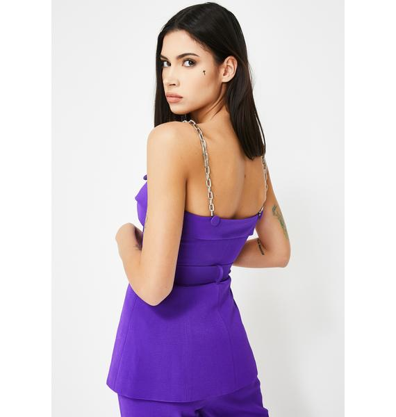 Jaded London Purple Suit Top With Chain Strap Detail