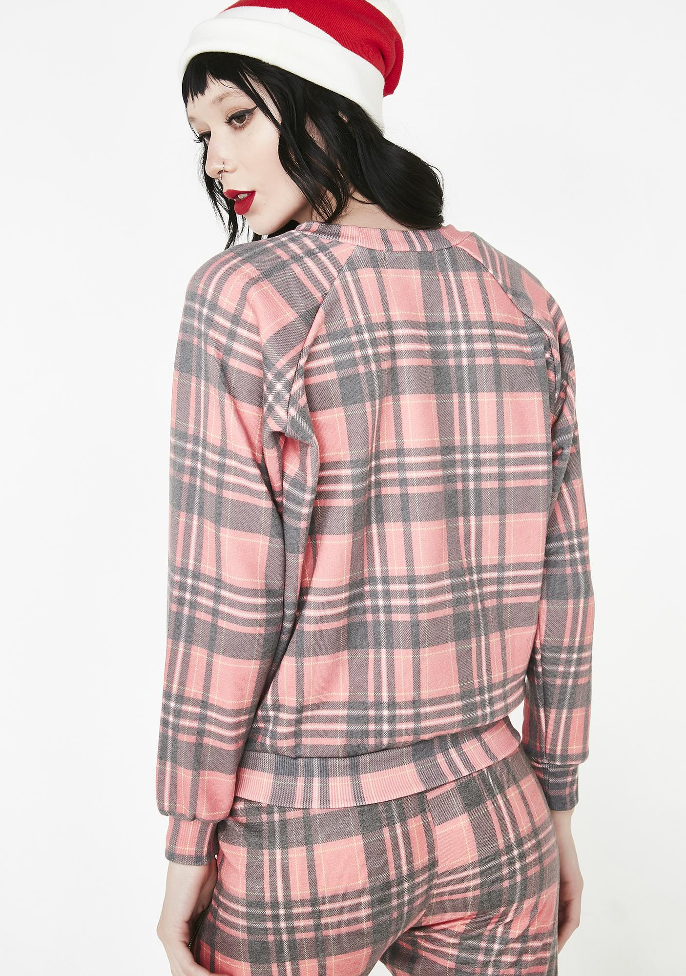 Wildfox Couture Sweetheart Plaid Junior Sweatshirt
