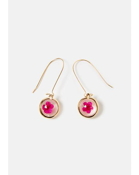 Golden Flowers Only Drop Earrings