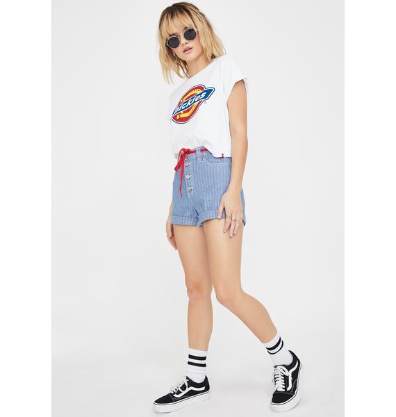 Dickies Girl Light Stone Wash Denim Shorts
