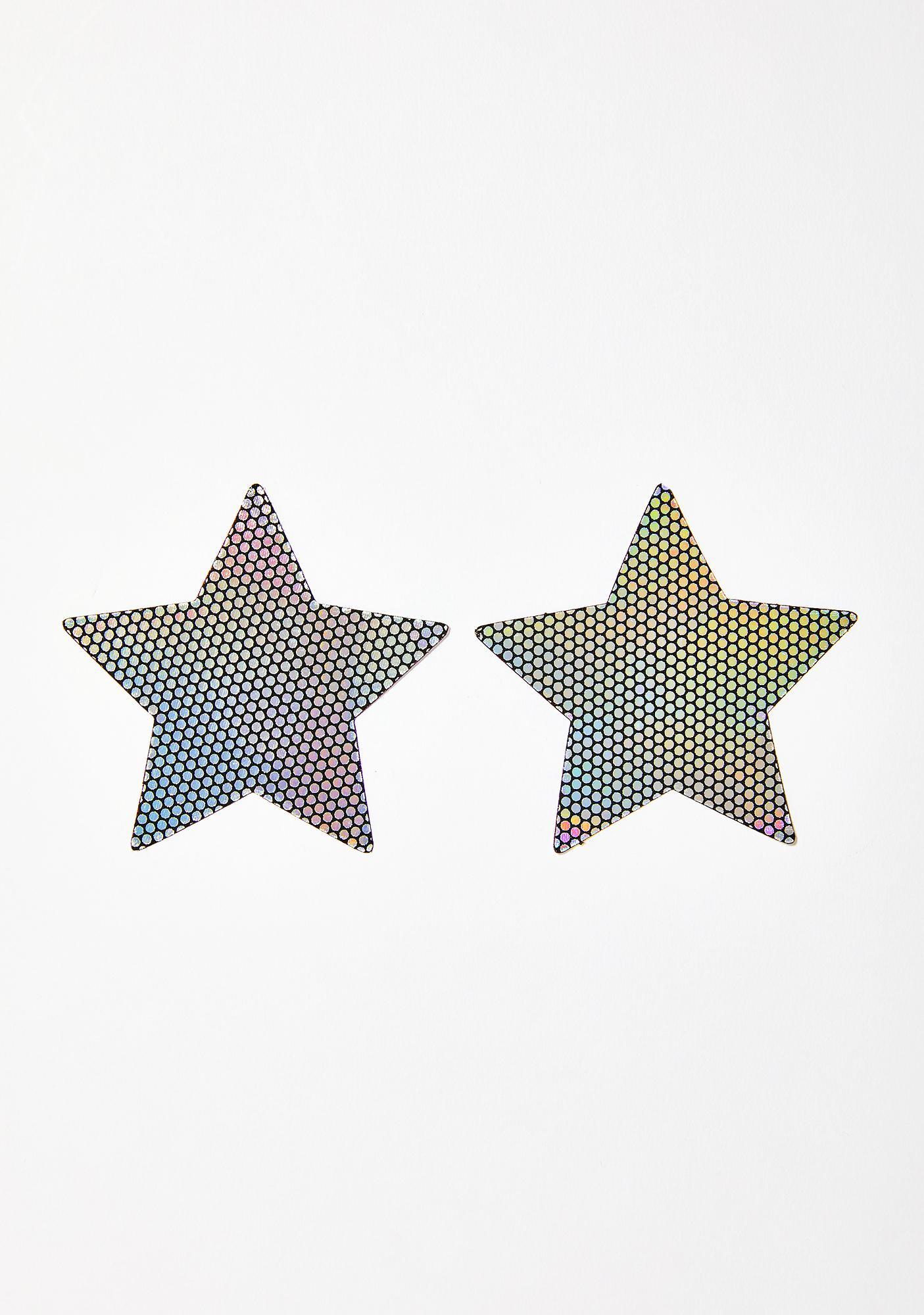 Neva Nude Liquid Party Holographic Star Pasties