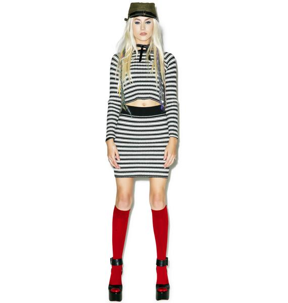 For Love & Lemons Back To Basics Stripe Mini Skirt